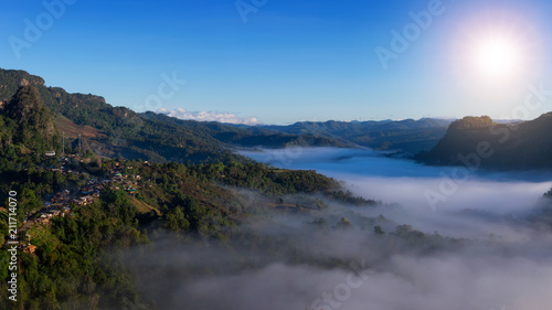 Fotobehang Lavendel Mountain landscape and morning mist.