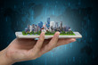 City model on smartphone.