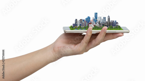 City model on smartphone. - 211714444