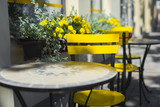 Summer cafe with yellow chairs - 211715486