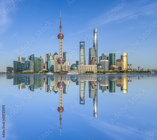 Plexiglas Shanghai Shanghai skyline in sunny day, China.