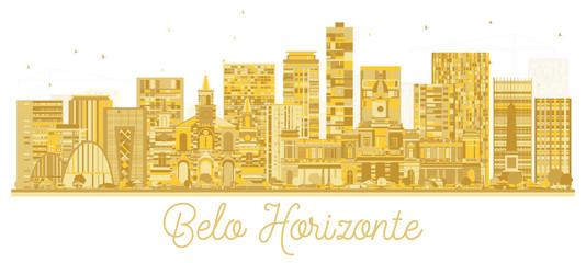 Belo Horizonte Brazil City Skyline Golden Silhouette. © BooblGum