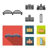 Museum, bridge, castle, hospital.Building set collection icons in black, flat style vector symbol stock illustration web. - 211727248