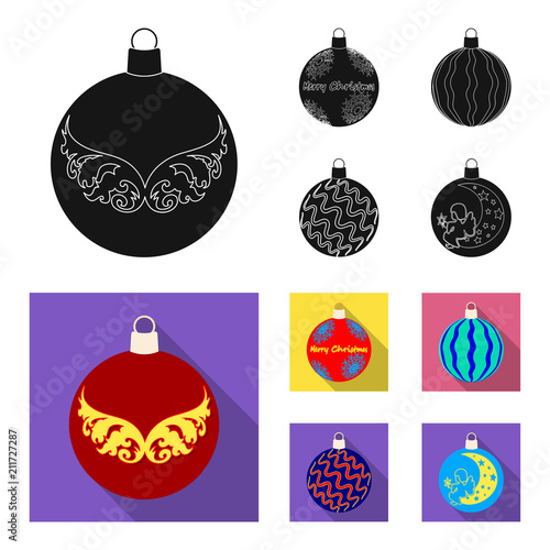 New Year Toys black, flat icons in set collection for design.Christmas balls for a treevector symbol stock web illustration. - 211727287
