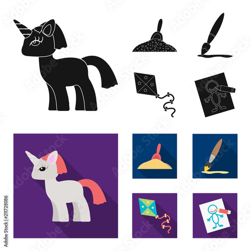 Children toy black,flat icons in set collection for design. Game and bauble vector symbol stock web illustration.