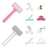 Scissors, brush, razor and other equipment. Hairdresser set collection icons in cartoon,outline style vector symbol stock illustration web. - 211728477