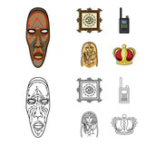 Picture, sarcophagus of the pharaoh, walkie-talkie, crown. Museum set collection icons in cartoon,outline style vector symbol stock illustration web.