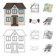 House plan, documents for signing, handshake, terrain plan. Realtor set collection icons in cartoon,outline style vector symbol stock illustration web. - 211728886