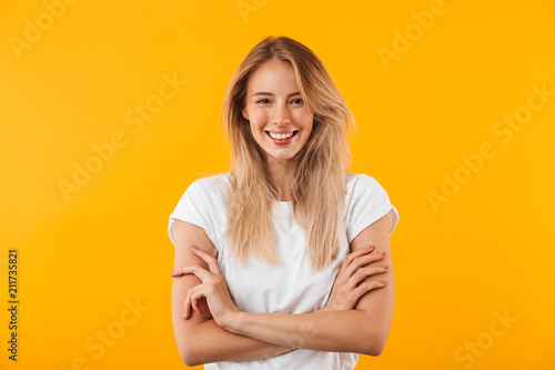 canvas print picture Portrait of a smiling blonde young woman