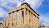 Beautiful scattered clouds on blue sky and iconic Parthenon temple at spring, Acropolis hill, Athens historic center, Attica, Greece - 211737691