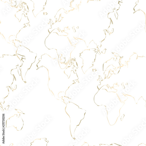 Gold foil outline abstract seamless pattern design. Golden trendy chic background - 211738206