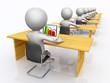 Büroarbeitsplätze mit 3D Figuren