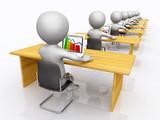 Büroarbeitsplätze mit 3D Figuren - 211739860