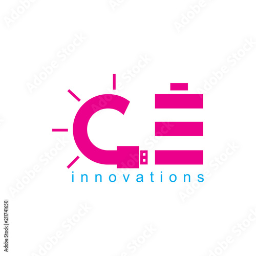 CE Initial with Lamp and battery vector Logo Icon element. Innovations design collection. Vector illustration