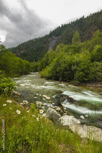 Aluminium Bergrivier Beautiful BC Canada River and Mountain Landscape
