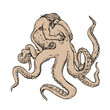Hercules Fighting Giant Octopus Drawing