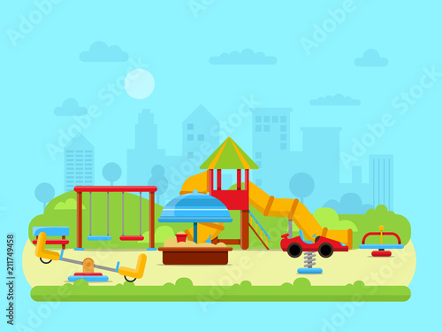 Fotobehang Lichtblauw Vector illustration of urban landscape with park and childrens playground