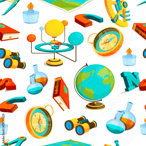 Tapeta Science seamless pattern. Vector pictures of geography and science