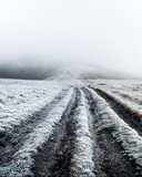 Fantastic autumn landscape with frost road. Landscape photography