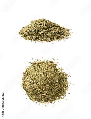 Fototapeta Pile of mate tea leaves isolated