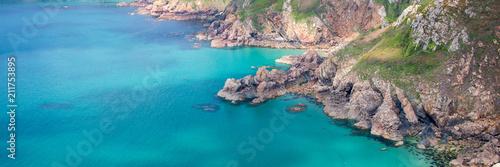 Fotobehang Zalm Icart point panoramic landscape, Guernsey