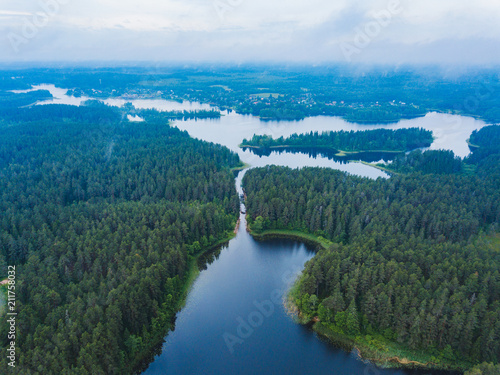 Fotobehang Groen blauw Lake Seliger from above. Russian landscape