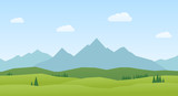Landscape mountains and hills flat design