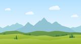 Landscape mountains and hills flat design - 211759469