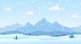 Vector winter landscape mountains flat design