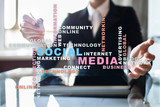 Social media network and marketing. Business, technology concept. Words cloud on virtual screen.? - 211764476