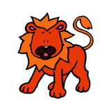 Lion cartoon illustration isolated on white background for children color book