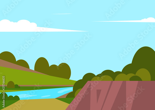 Fotobehang Lichtblauw Vector illustration of beautiful landscape fields with river, green hills, bright colors of blue sky, background in cartoon style.