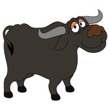 Buffalo cartoon illustration isolated on white background for children color book