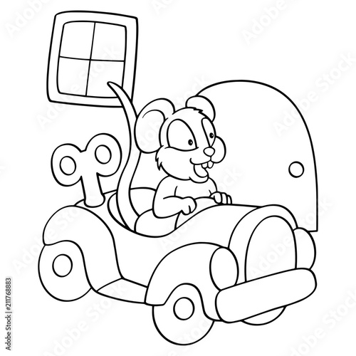 Plexiglas Auto Mouse cartoon illustration isolated on white background for children color book