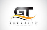 GT G T Swoosh Letter Logo Design with Modern Yellow Swoosh Curved Lines.