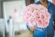 Leinwanddruck Bild - Man with beautiful bouquet of roses.