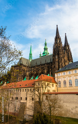 St Vitus Cathedral in Hradcany Castle. Beautiful landmark in Prague, Czech Republic. Gothic architecture