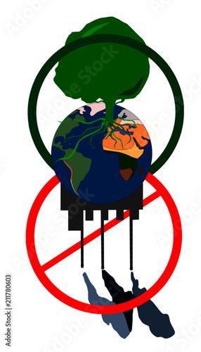 Fototapeta Vector illustration concept ecological clean planet against pollution environmental