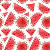 Watercolor watermelon seamless vector pattern - 211781019
