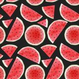 Watercolor watermelon seamless vector pattern - 211781077