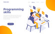 Flat color Modern Isometric Concept Illustration - Programming Skills