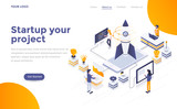 Flat color Modern Isometric Concept Illustration - Startup your project - 211783440
