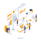 Flat color Modern Isometric Illustration design - Strategy - 211784008