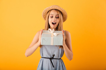 Portrait of a cheerful young blonde woman in summer hat © Drobot Dean