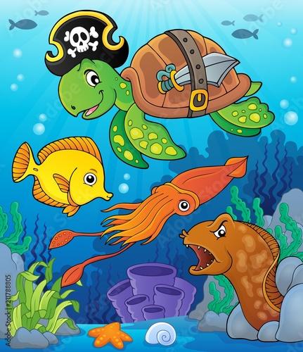 Fotobehang Voor kinderen Pirate turtle theme image 4