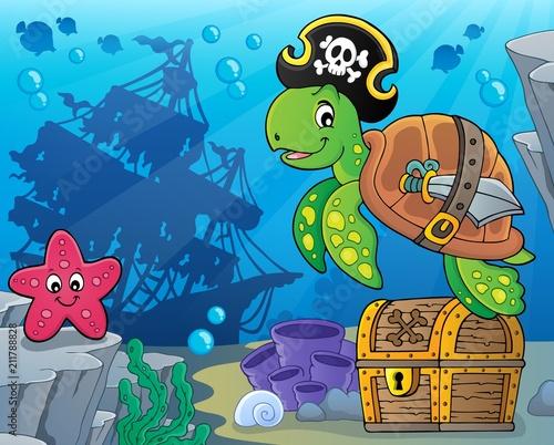 Fotobehang Voor kinderen Pirate turtle theme image 5