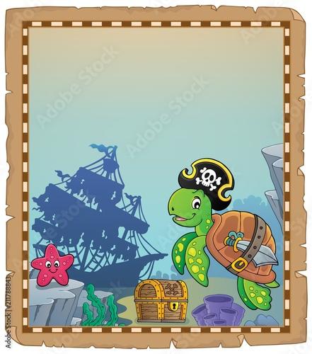 Fotobehang Voor kinderen Pirate turtle theme parchment 1