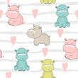 Vector hand drawn seamless pattern with cute hippos