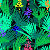 Abstract painting seamless pattern. Free hand colorful background with jungle motif. Hand drawn tropical background. - 211796411