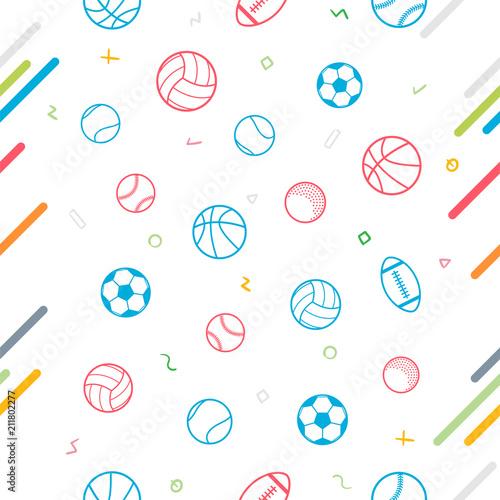 Tapeta Sport theme seamless pattern background; football; baseball; volleyball; basketball